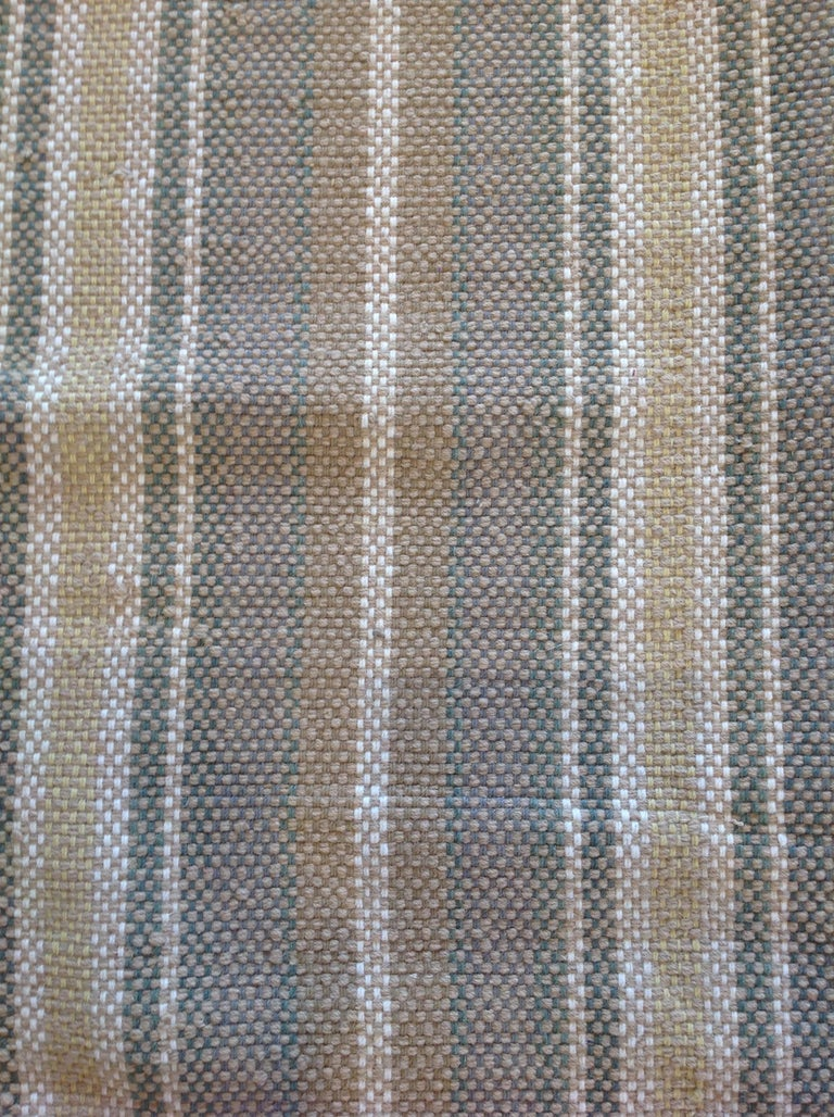 Sand Stripe Indian Wool Dhurrie Rug For Sale 1