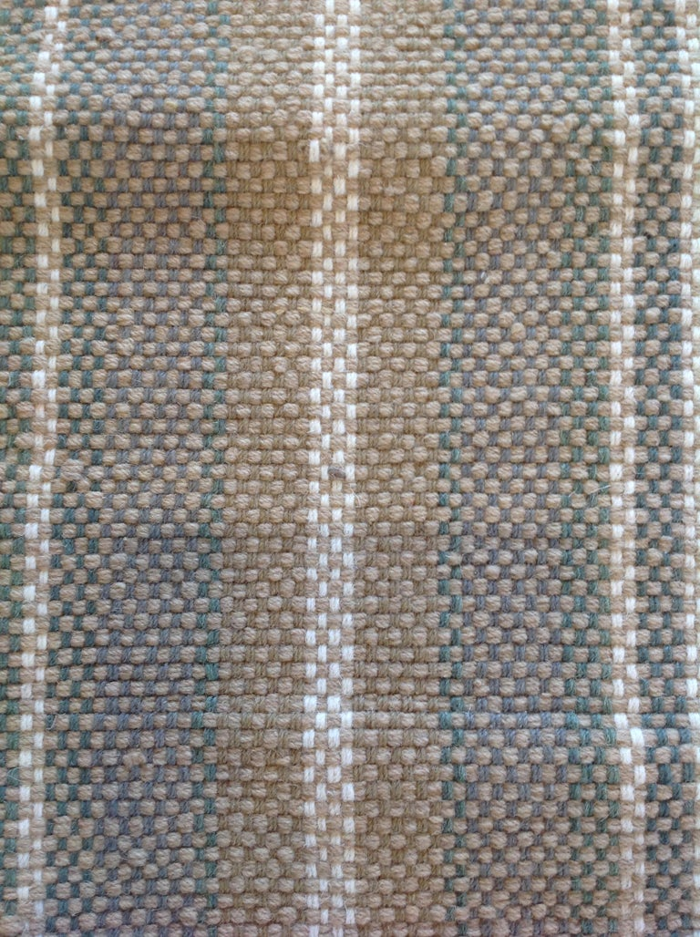 Sand Stripe Indian Wool Dhurrie Rug For Sale 2