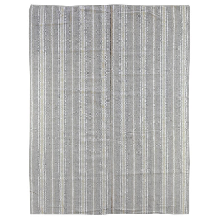 Sand Stripe Indian Wool Dhurrie Rug For Sale