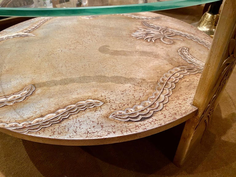 Mid-20th Century Sandblasted Glass Top Art Deco Coffee Table Silvered Wood Base For Sale