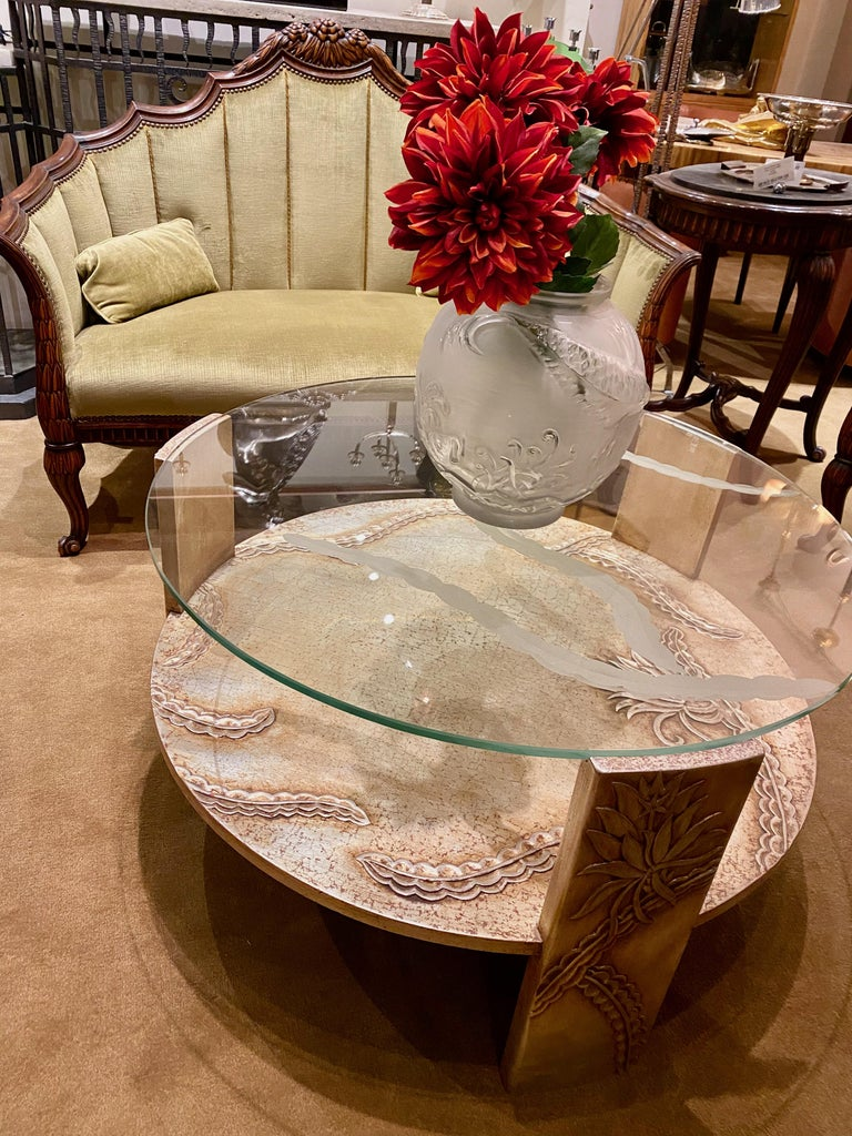 Sandblasted Glass Top Art Deco Coffee Table Silvered Wood Base For Sale 2
