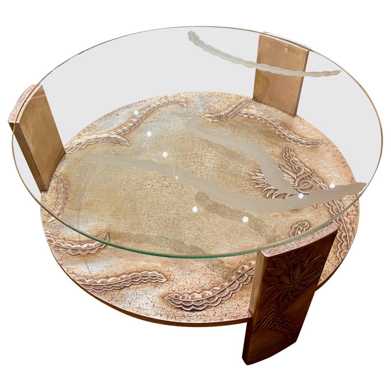Sandblasted Glass Top Art Deco Coffee Table Silvered Wood Base For Sale