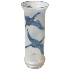 Sandblasted Glass Vase with Engraved Swans in Blue Color French Design 1970 Cris