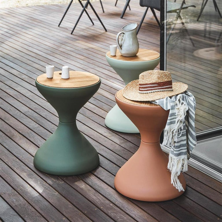 Sandglass Side Table Indoor Outdoor with Teak Top In New Condition For Sale In Paris, FR