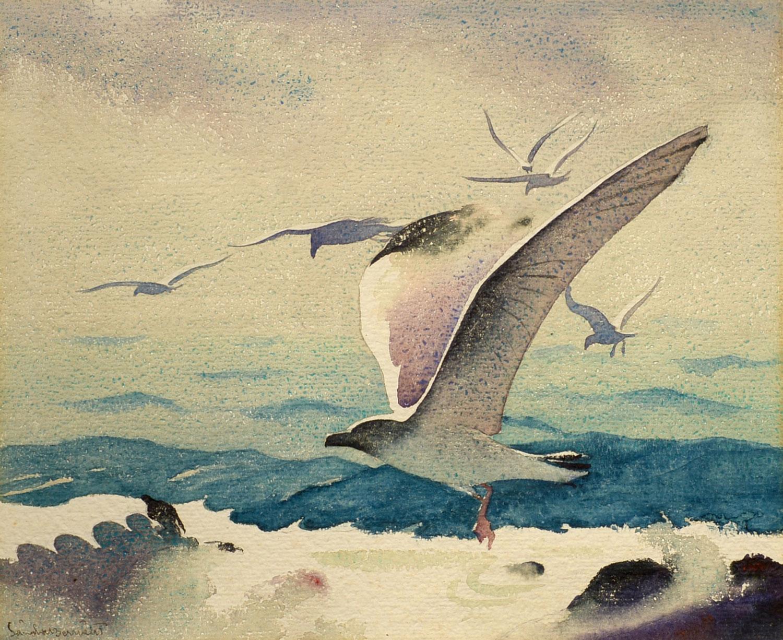 """In Flight,"" Sandor Bernath, Modernist watercolor of seagulls over the ocean"