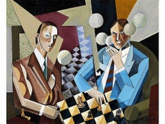 """Chess Players"" Hungarian Modernism Futurism Art Deco Cubism Avant Garde Smokers"