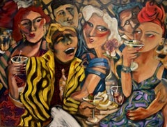 """""""Cocktails With Scam Likely"""" Contemporary Expressionist Figure acrylic painting"""