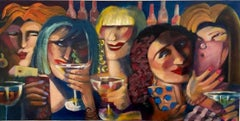 """""""Girls Night Out Goes Viral"""" Contemporary Expressionist Figure Painting"""