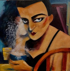 """""""Leon Has No Trouble With Powder"""" Modern Expressionist Figure acrylic painting"""