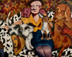 """Miss Colleen Don't Allow No Dogs Around Here"" Neo-Expressionist Figure Painting"