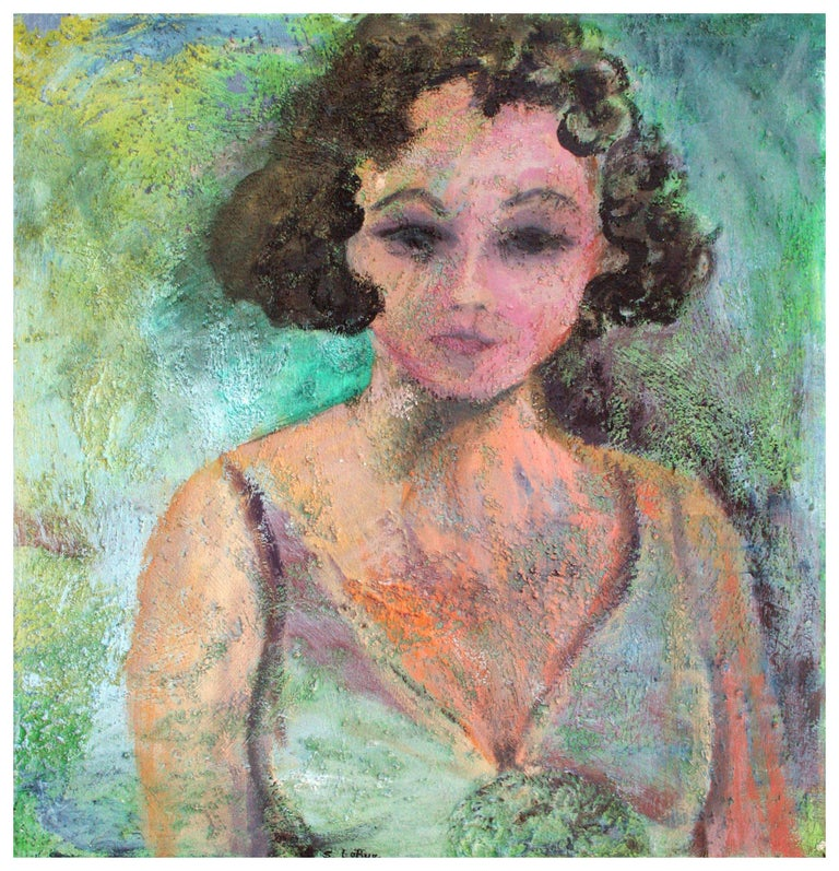 Sandra LaBoue-Erba Figurative Painting - Artist's Modernist Self Portrait