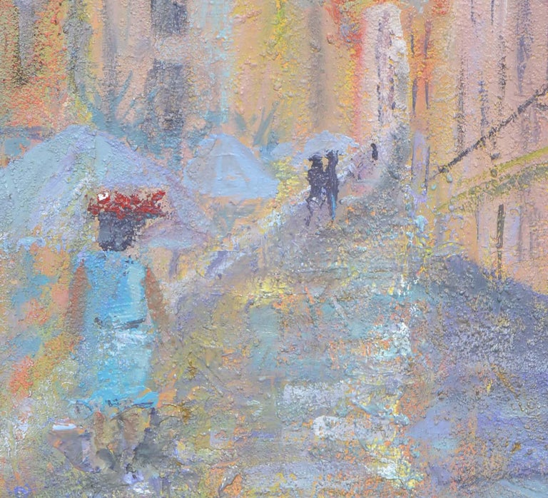 French Street Scene Landscape - American Impressionist Painting by Sandra LaBoue-Erba