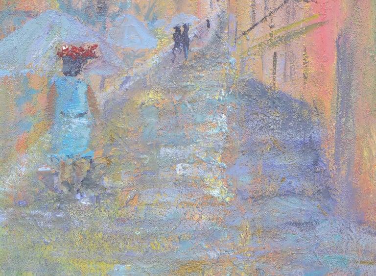 French Street Scene Landscape - Gray Landscape Painting by Sandra LaBoue-Erba