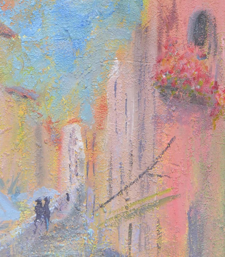 Brightly colored and highly textured French Street Scene by Aptos, California artist Sandra Lobue-Erba (American, 1945-2007). Unsigned and unframed (from a collection of her works). Image: 30