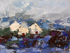 """""""Three Houses"""", Oil painting"""