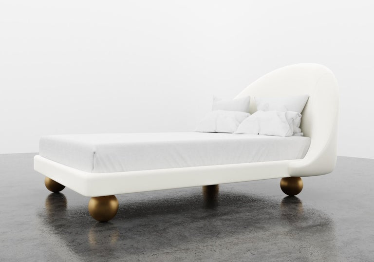 American SANDRINE BED - Modern Frame and Headboard in Faux White Leather with Metal legs For Sale