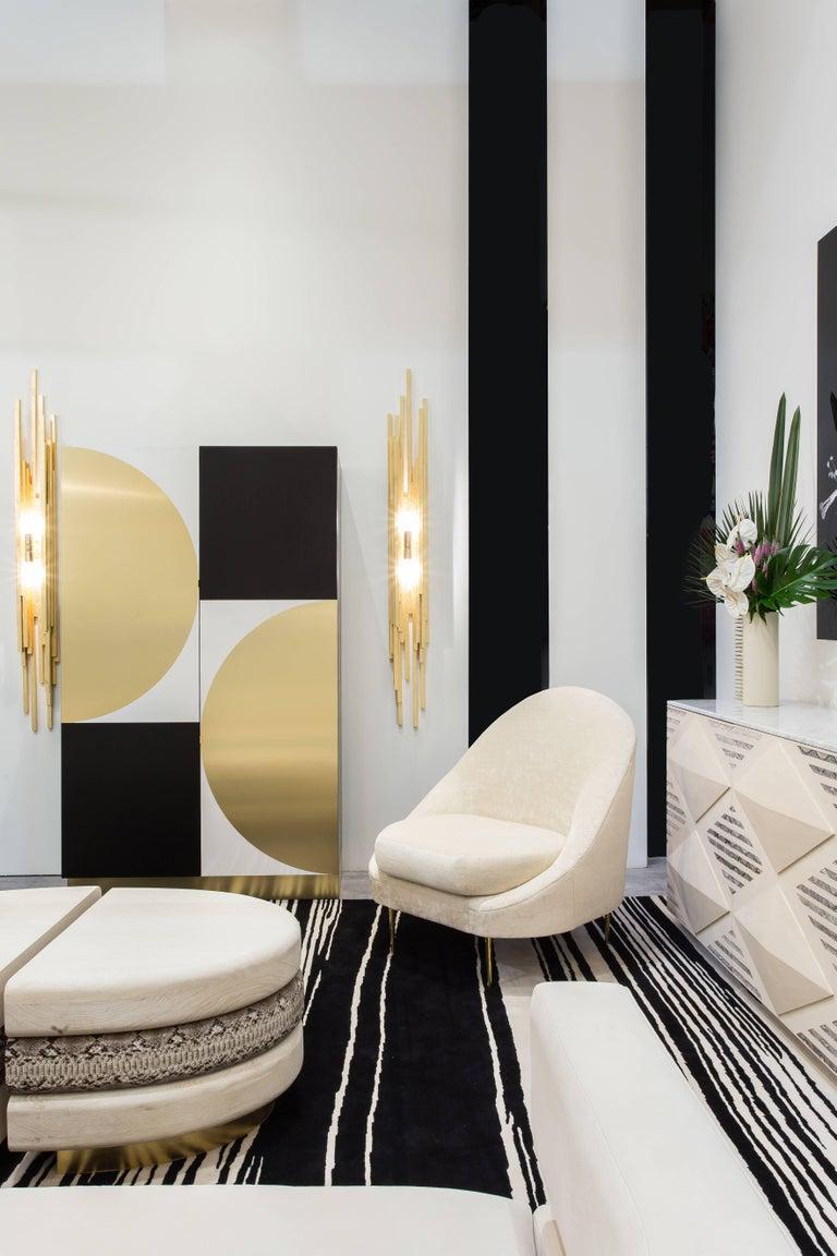 American SANDRINE CHAIR - Modern Asymmetrical Velvet Chair with Solid Brass Legs For Sale