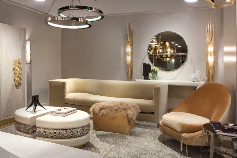 Contemporary SANDRINE CHAIR - Modern Asymmetrical Velvet Chair with Solid Brass Legs For Sale