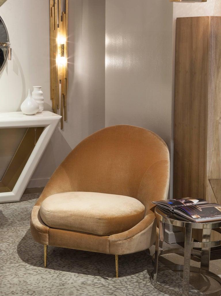 Upholstery SANDRINE CHAIR - Modern Asymmetrical Velvet Chair with Solid Brass Legs For Sale