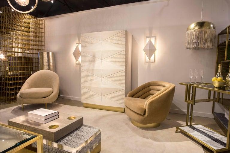 SANDRINE CHAIR - Modern Asymmetrical Velvet Chair with Solid Brass Legs For Sale 1