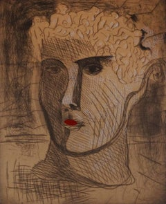 Head with Red Lips (Et in Arcadia Ego), Etching with Collage, Neo-Expressionism
