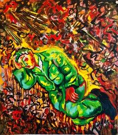 Large lithograph Italian Post Modernist Bright Figurative Pop Art Sleeping Man