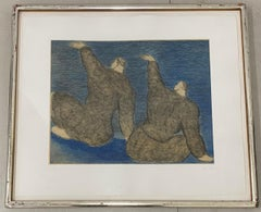 """Sandro Chia """"Two Boys on a Raft"""" Original Etching W/ Aquatint C.1982"""