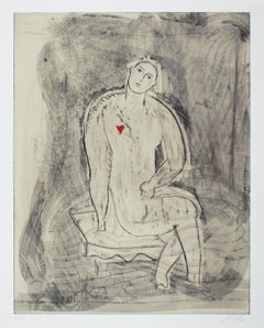 Seated Figure with Heart (from Et in Arcadia Ego), Etching, Neo-Expressionism