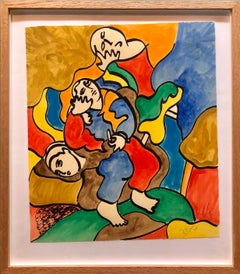 "Woodblock Heliorelief with Hand Painting ""Novel"" Italian Post Modernist Pop Art"