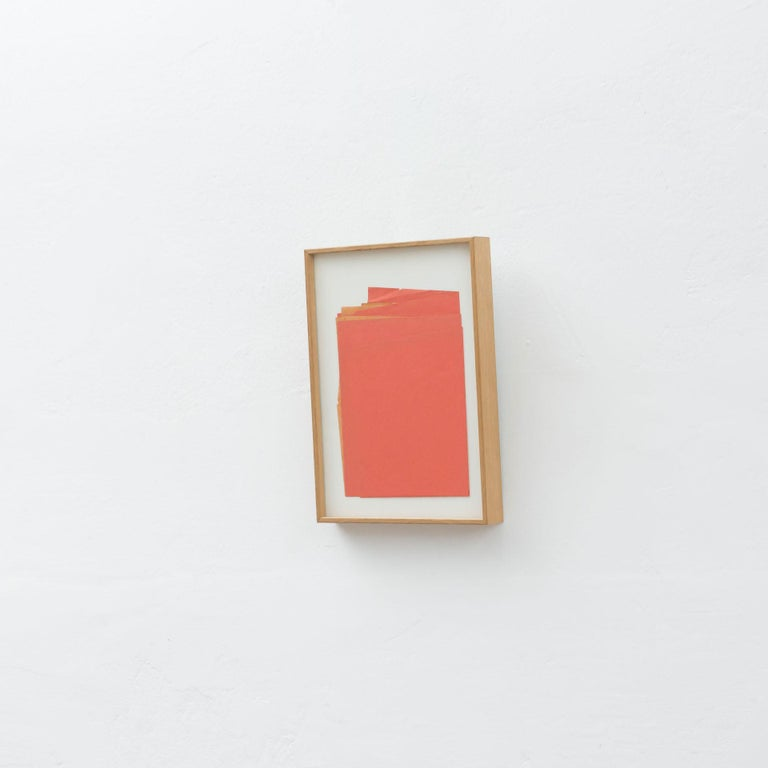 Spanish Sandro Contemporary Artwork Red Paper Composition For Sale
