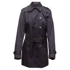 Sandro Navy Long Trench Coat