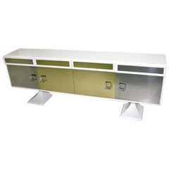 Sandro Petti 1970s Italian Modern Chrome and Brass White Lacquered Credenza