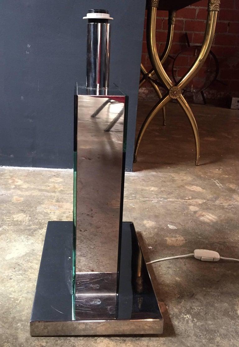 Mid-Century Modern Sandro Petti 1970s Italian Modern Chrome and Mirror Table Lamp, 1970 For Sale