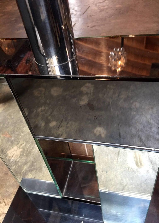 Late 20th Century Sandro Petti 1970s Italian Modern Chrome and Mirror Table Lamp, 1970 For Sale