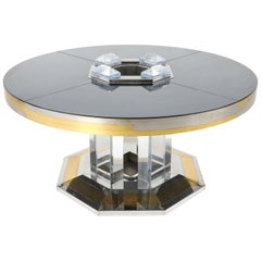 Sandro Petti for Maison Jansen Chrome and Brass Round Dining Table