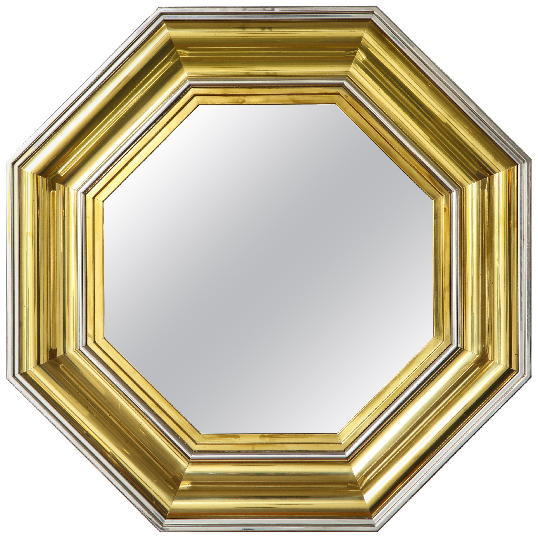 Sandro Petti for Maison Jansen 1970s Large Octagonal Brass and Chrome Mirror