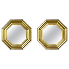 Sandro Petti for Maison Jansen 1970s Large Octagonal Brass and Chrome Mirrors