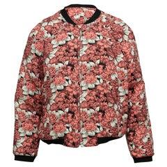 Sandro Pink & Multicolor Floral Jacquard Bomber Jacket