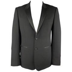 SANDRO Size 44 Black Wool Satin Peak Lapel Tuexo Sport Coat