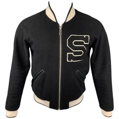 SANDRO Size S Black & White Patch Wool Blend Zip Up Jacket