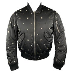 SANDRO Size XS Black Silver Tone Star Studded Nylon Bomber Flight Jacket