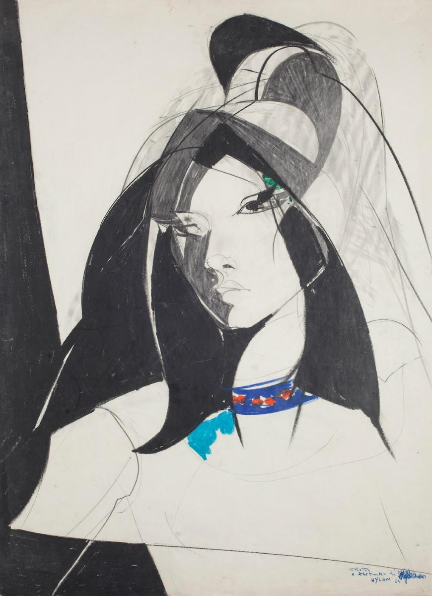 Young Woman - Original Lithograph by Sandro Trotti - 1980