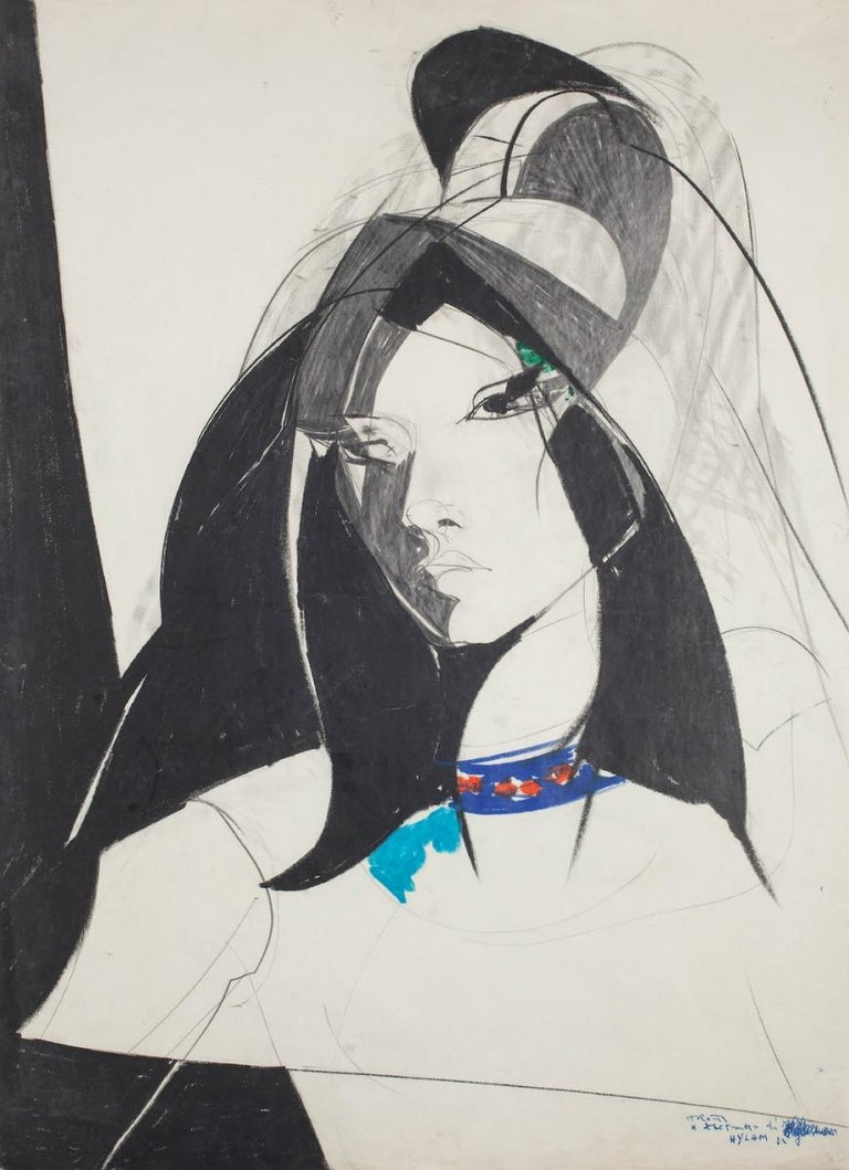 Young Woman is an original lithograph artwork, realized by Sandro Trotti in 1980.  The state of preservation is very good.  Representing a young woman exalted by a wonderful contrast of colors.