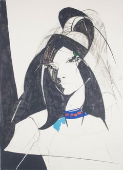 Young Woman - Original Lithograph by Sandro Trotti - 1980s