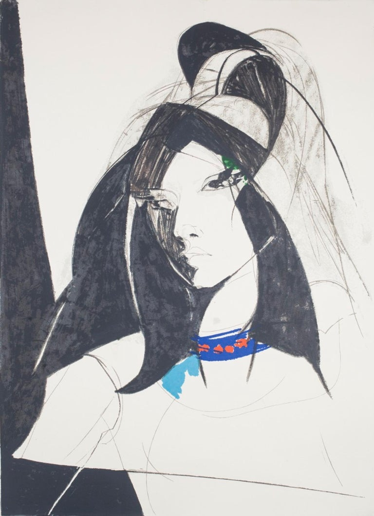 Young Woman is an original litograph, realized by Sandro Trotti in 1980s.  Representing a young woman exalted by a wonderful contrast of colors, this original print is hand-signed in pencil by the artist on the lower right margin, numbered in pencil