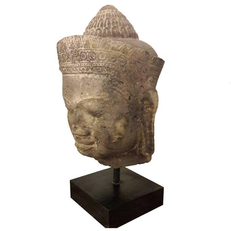 Sandstone Buddha Head Sculpture on a Stand, from Cambodia