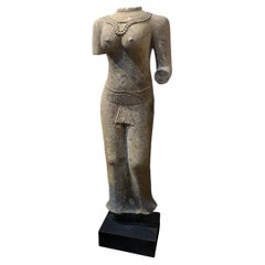 Hand-Carved Sandstone Female Sculpture, Late 20th Century