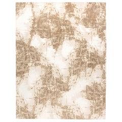 Contemporary Sandstorm Hand-spun Wool and Silk, Brown & Sandy Beige Rug