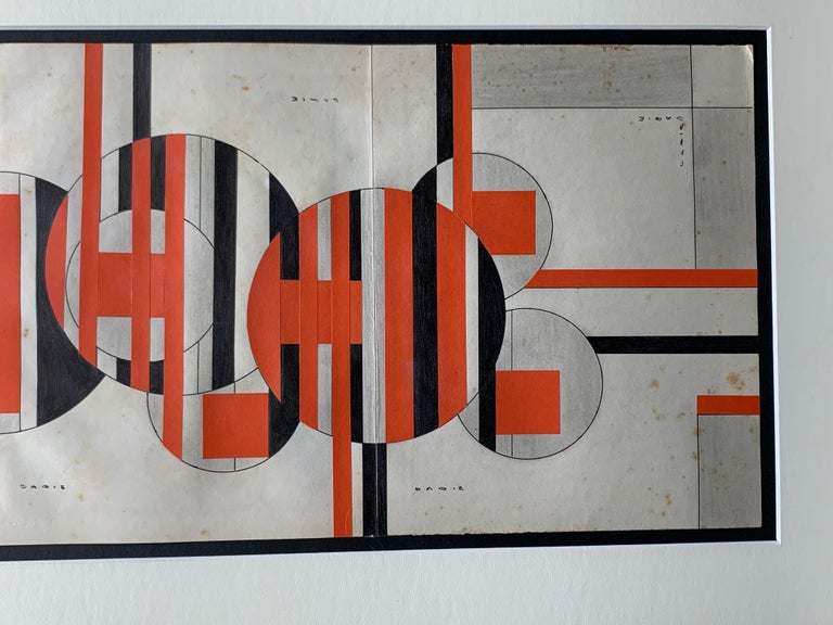 Abstract geometric composition by Cuban artist, Sandu Darie (1908-1991). Untitled, ca. 1960. Ink, paint and paper collage on folded paper sheet measuring 9 x 29 inches. Framed measurement: 16 x 36.5 inches. Signed in multiple areas. The piece is