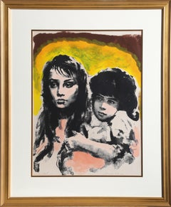 Brother and Sister, Lithograph by Sandu Liberman